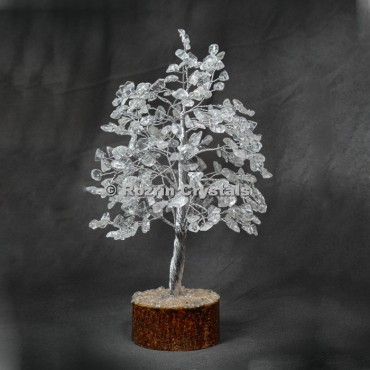 Crystal Quartz  Silver Wire 300 Chips Tree