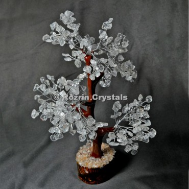 Crystal Quartz Trunk Silver Wire 300 Chips Tree
