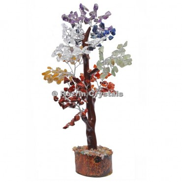 7 Chakra Trunk Silver Wire 300 Chips Tree
