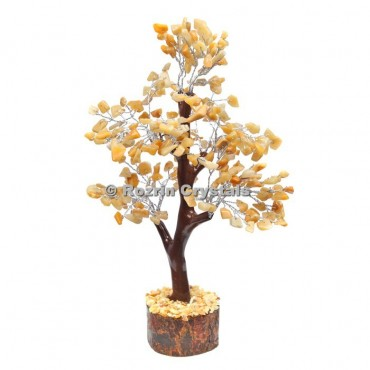 Golden Quartz Trunk Silver Wire 300 Chips Tree