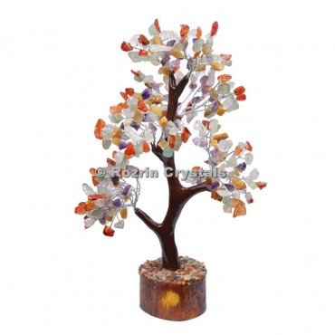 Multi Stone Trunk Silver Wire 300 Chips Tree