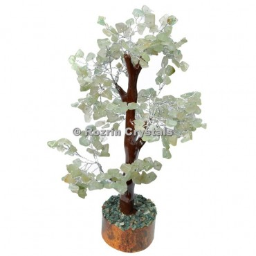 Green Aventurine Trunk Silver Wire 300 Chips Tree