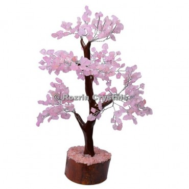 Rose Quartz Trunk Silver Wire 300 Chips Tree