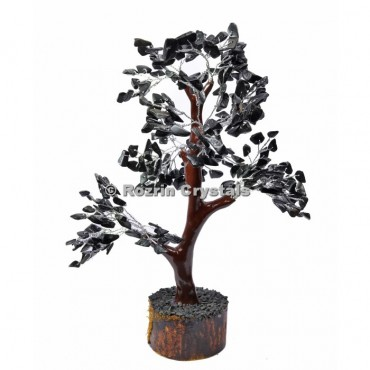 Black Jasper Trunk Silver Wire 300 Chips Tree