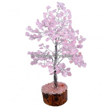 Rose Quartz Silver Wire 300 Chips Tree