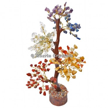 Chakra Stone Trunk Golden wire 300 chips  Tree