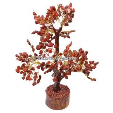 Red Jasper Trunk Golden wire 300 chips  Tree