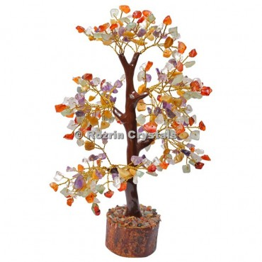 Multi Stone Silver Wire 300 Chips Tree