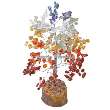 7 Chakra Stone Silver Wire 300 Chips Tree