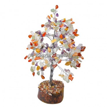 Multi Reiki Stone Silver Wire 300 Chips Tree