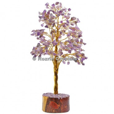 Amethyst  Golden Wire 300 Chips Tree