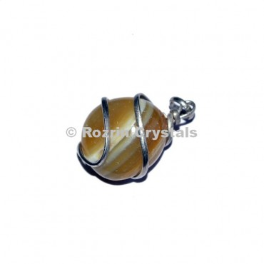 Yellow Banded Agate  Wrap Tumbled Pendant