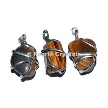 Yellow Tiger eye  Wrap Tumbled Pendant