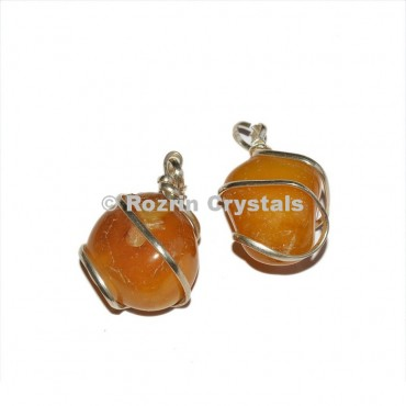 Yellow Onyx Wrap Tumbled Pendants