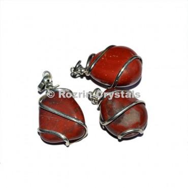 Red jesper  Wrap Tumbled Pendant