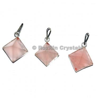 Rose Quartz Pyramid Pendant