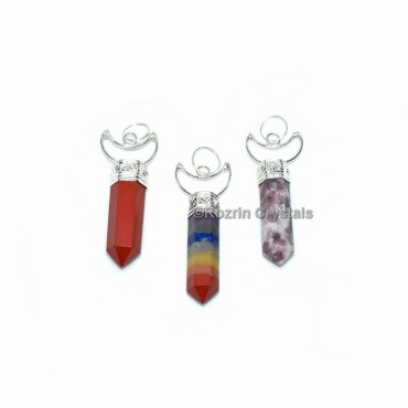 Mix Stone Pencil Pendant With Moon