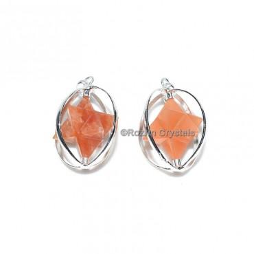 Peach Aventurine Merkaba Star pendant