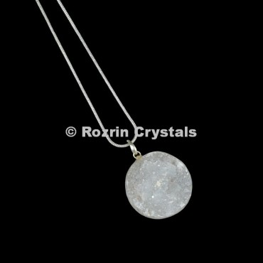 Crystal Druzy Disc Pendants