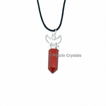 Red Jasper with Moon Shape Pencil Pendant