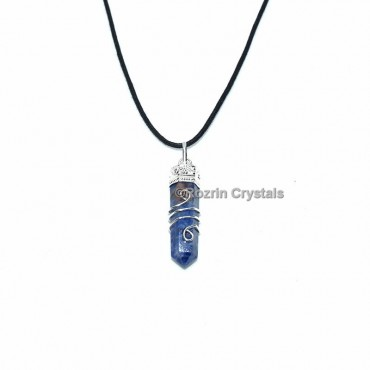 Sodalite Spiral With Moon Pencil Pendant