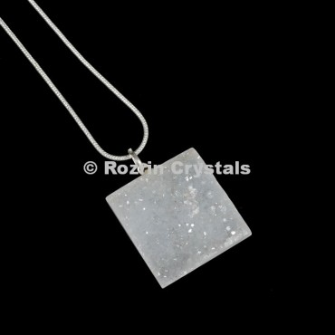 Crystal Druzy Square Pendants