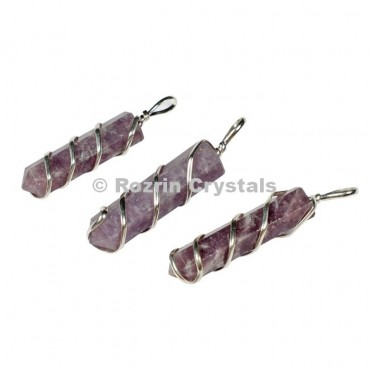 Lepidolite Pencil Wrap Pendants