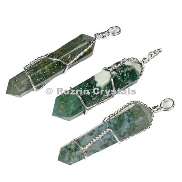 Moss Agate Doube Point Pendants