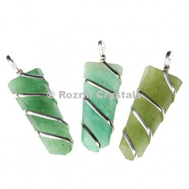 Green Aventurine Flat Pencil Wrap Pendants