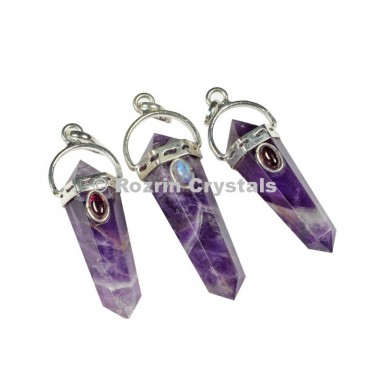 Amethyst Double Point Pendants