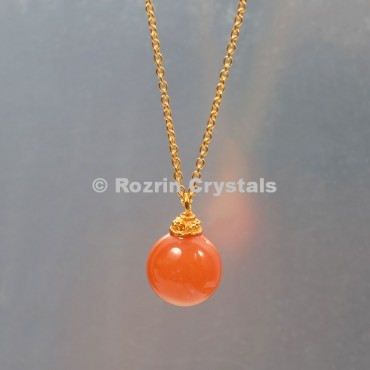 Carnelian  Ball Necklace