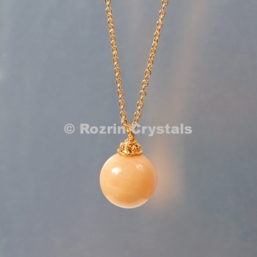 Yellow Aventurine  Ball Necklace