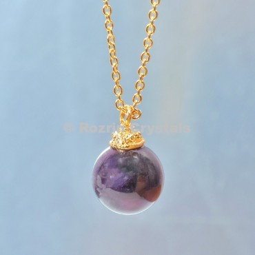 amethyst  Ball Necklace