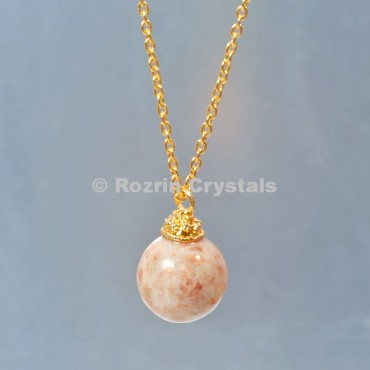 Sunstone  Ball Necklace