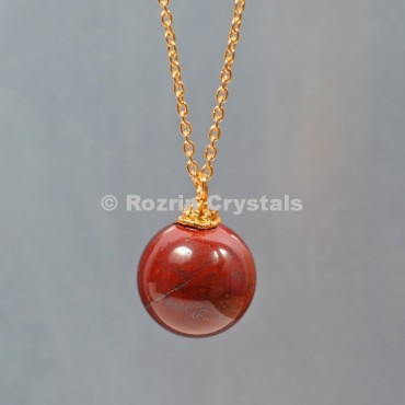 Red Jesper  Ball Necklace