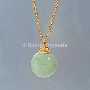 Green Aventurine  Ball Necklace