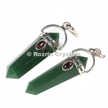 Green Aventurine Double Point Pendants
