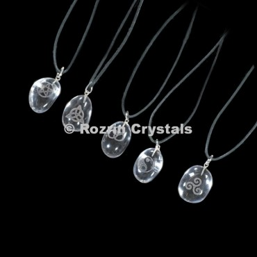 Engraved Natural Clear Quartz Pendants