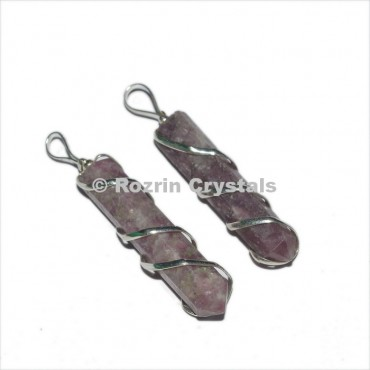 Lepidolite Pencil Wrap Pendant