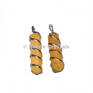 Yellow Aventurine Pencil Wrap Pendant