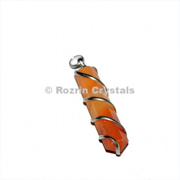 Carnelian pencil Wrap pendant