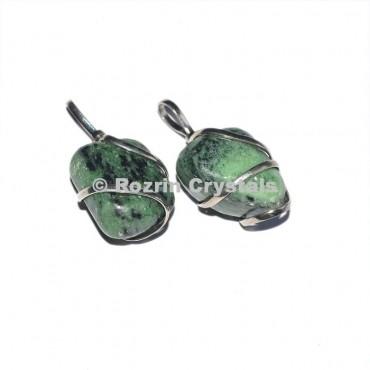 Green Zoisite Tumbled Wrap Pendant