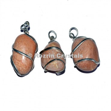Peach Aventurine Tumbled Wrap Pendants