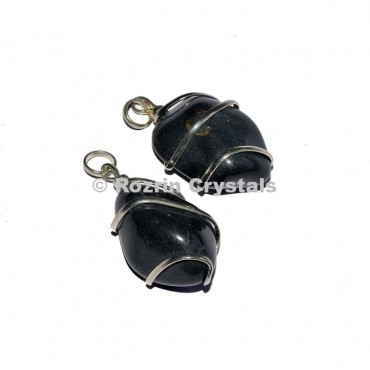 Black Stone Wrap Tumbled Pendants