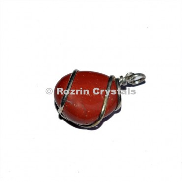 Red Jasper Tumbled Wrap Pendants