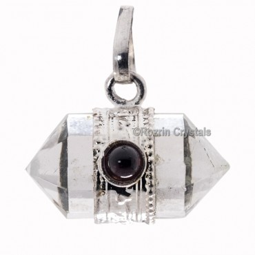 Crystal Quartz Double Point Pendants with Garnet