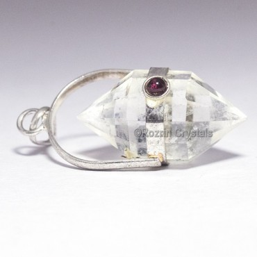 Crystal Quartz Faceted Double Point Pendants