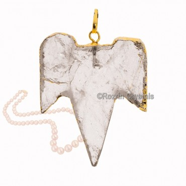 Crystal Quartz Shark Teeth Shape Pendants