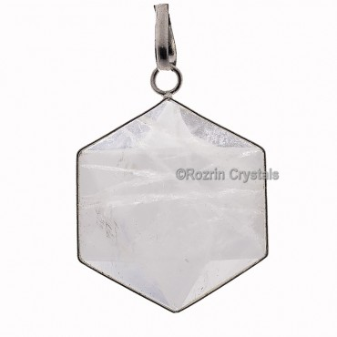 Crystal Quartz Hexagone Pendants