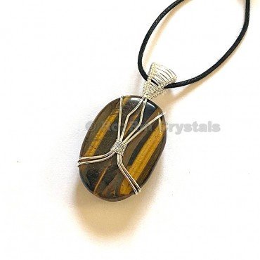 Tiger Eye Oval Shape Healing Stone Necklace